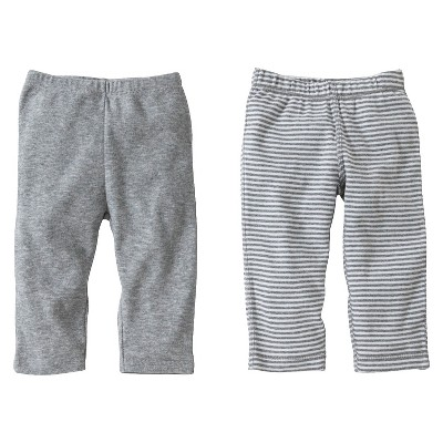 Burt's Bees Baby® Organic Cotton 2pk Pants Set Solid/Stripes - Heather Gray