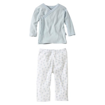 Burt's Bees Baby® Organic Cotton Long Sleeve 2pc Kimono top and Bottom Set Solid/Patterned - Sky Blue