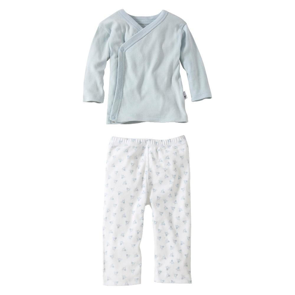 Burts Bees Baby Newborn Boys 2 Piece Kimono Top and Bottom Set - Sky 0-3 M, Blue