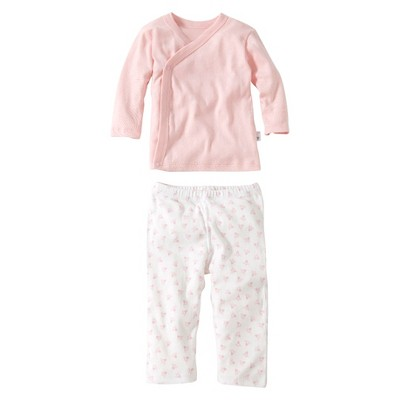Burt's Bees Baby® Organic Cotton Long Sleeve 2pc Kimono top and Bottom Set Solid/Patterned - Blossom Pink