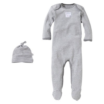 Burts Bees Baby™ Newborn Neutral Stripe Coverall and Hat Set - Gray 0-3 M