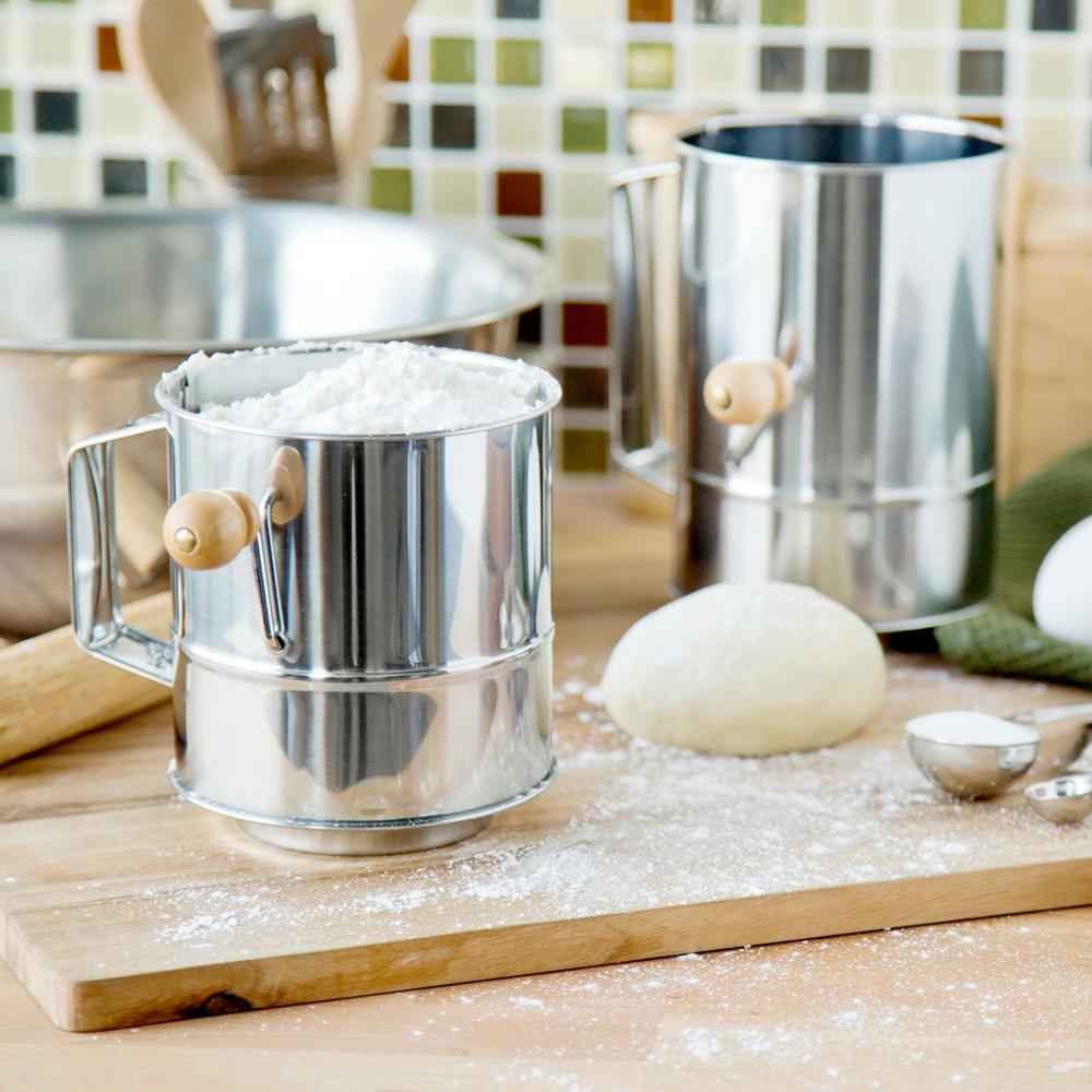 Fox Run Two Piece Flour Sifter Set, Silver