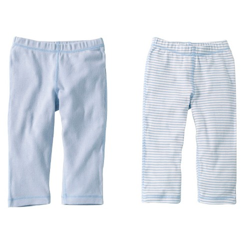 Burts Bees Baby™ Newborn Boys' 2 Pack Solid/Print Pants - Sky - image 1 of 1
