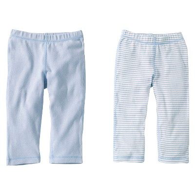 Burts Bees Baby™ Newborn Boys' 2 Pack Solid/Print Pants - Sky 3-6 M