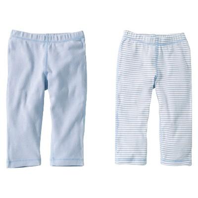 Burts Bees Baby™ Newborn Boys' 2 Pack Solid/Print Pants - Sky 6-9 M
