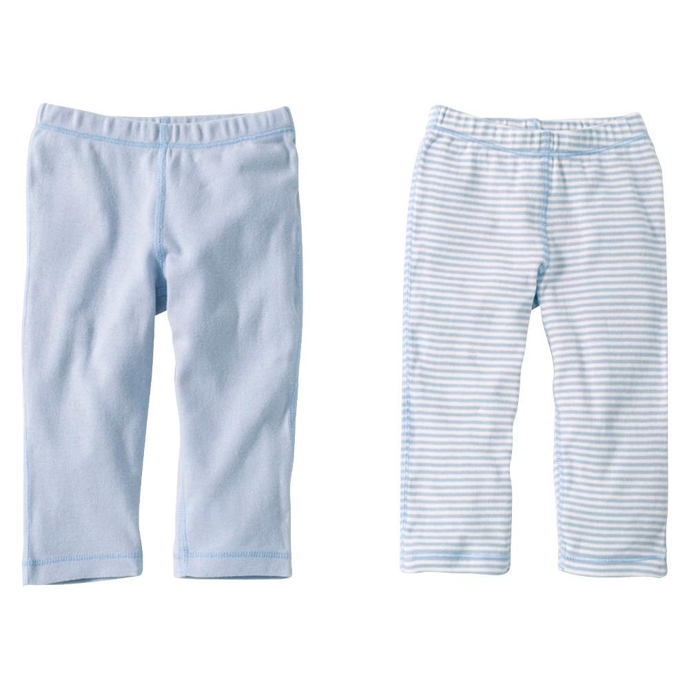 Burts Bees Baby Newborn Boys 2 Pack Solid/Print Pants - Sky 12 M, Blue