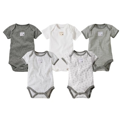 Burts Bees Baby™ Newborn Neutral 5 Pack Short Sleeve Bodysuit - Heather Gray 0-3 M