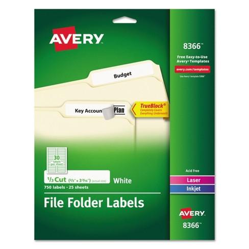 Avery 08366 Permanent File Folder Labels Trueblock Laserinkjet