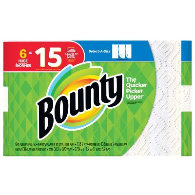 Bounty Select-a-Size Paper Towels - 6 Huge Rolls
