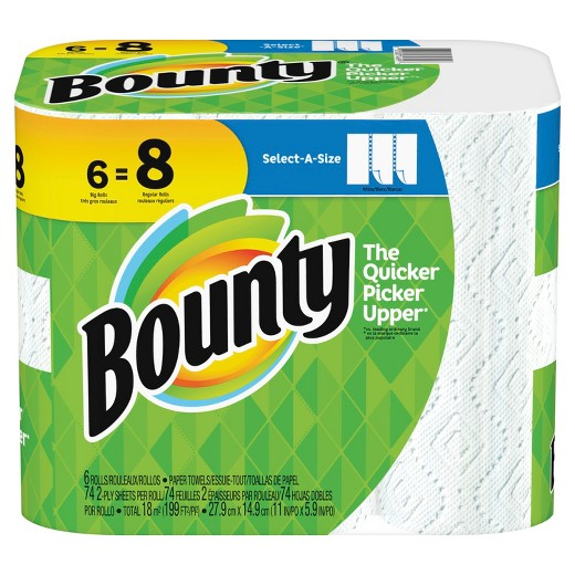 Bounty Select A Size White Paper Towels 6ct Target