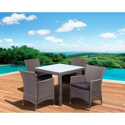 Atlantic Furniture Cape Deluxe 5 Piece Wicker Square Patio Dining Furniture  Set