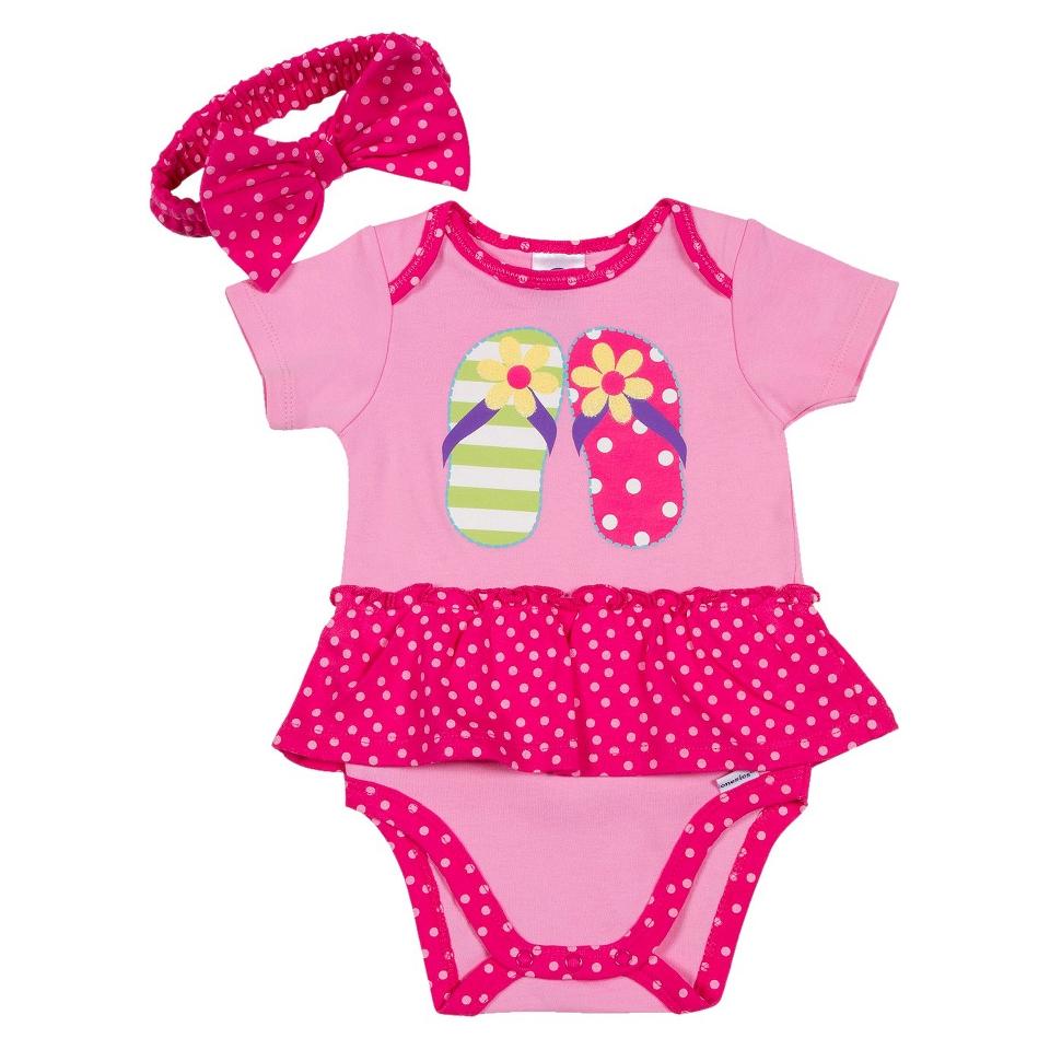 Gerber Newborn Girls Flip Flop Bodysuit and Headband Set   Pink 3 6 M