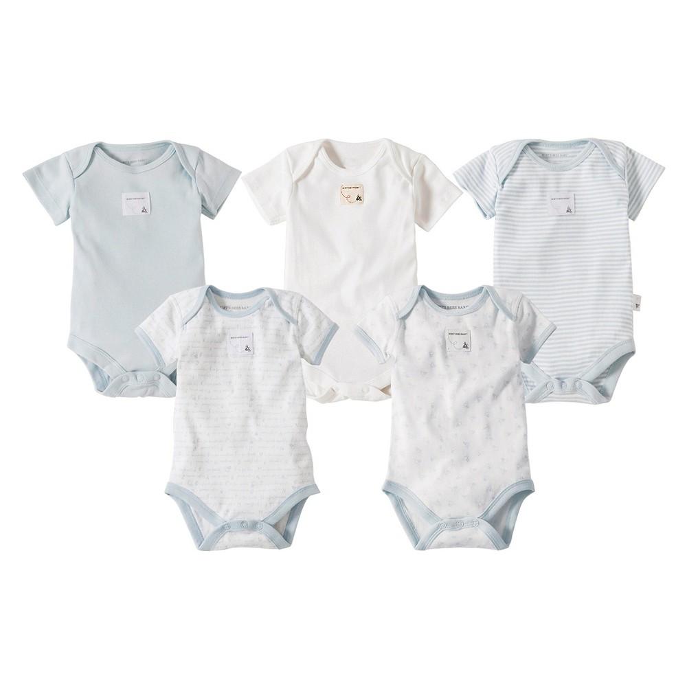 Burts Bees Baby Newborn Boys 5 Pack Short Sleeve Bodysuit - Sky Blue 0-3 M