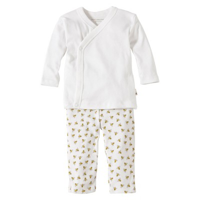 Burts Bees Baby™ Newborn Neutral 2 Piece Kimono Top and Bottom Set - Cloud