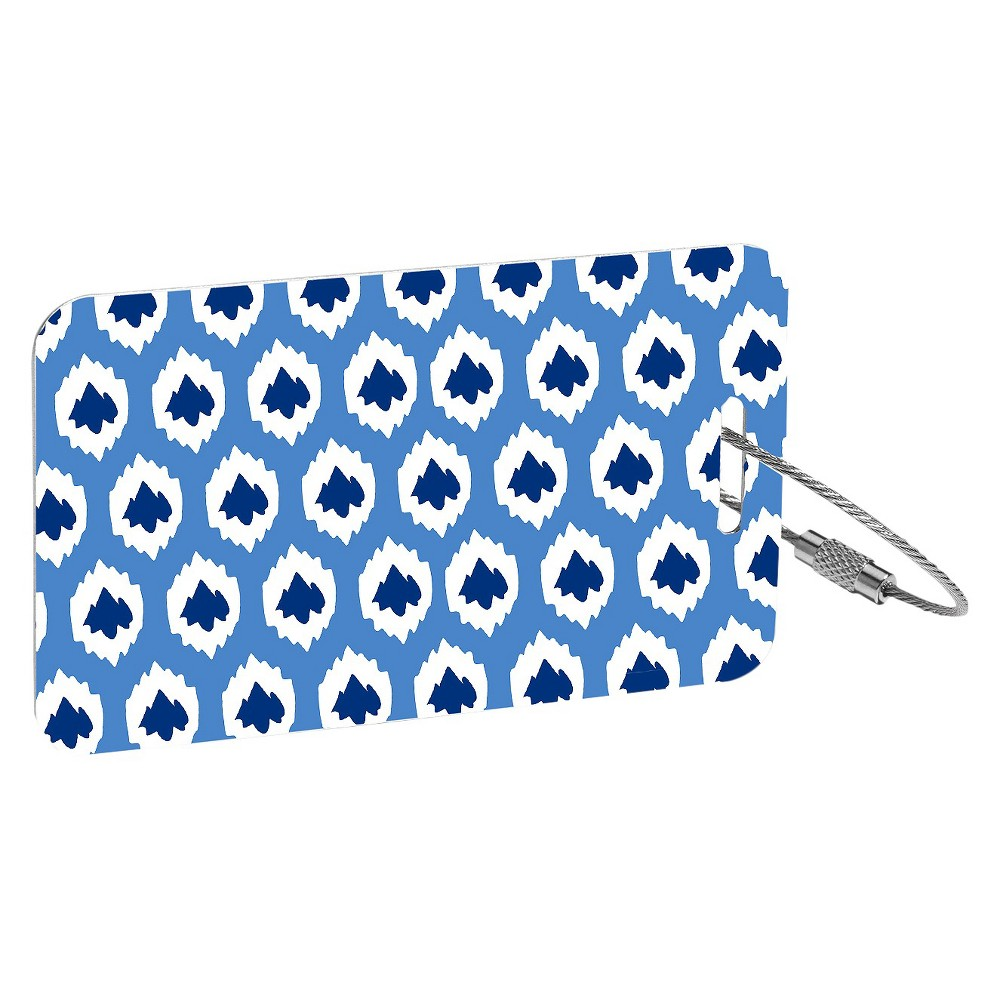 RuMe 2 Piece Set Luggage Tags- Blue, Aqua Ikat Tech Tags that utilize cloud computing technology to help insure your items a safe recovery if lost. Color: Aqua Ikat. Gender: Unisex. Age Group: Adult.