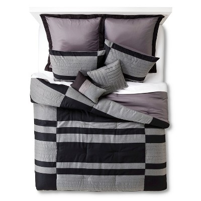 Beau 8 Piece Comforter Set -Gray/Black (King)
