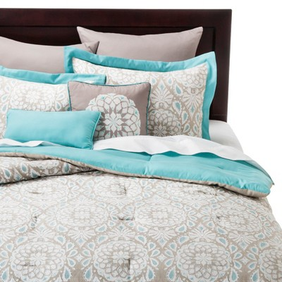 Valencia Medallion 8 Piece Comforter Set - Teal/Natural (King)