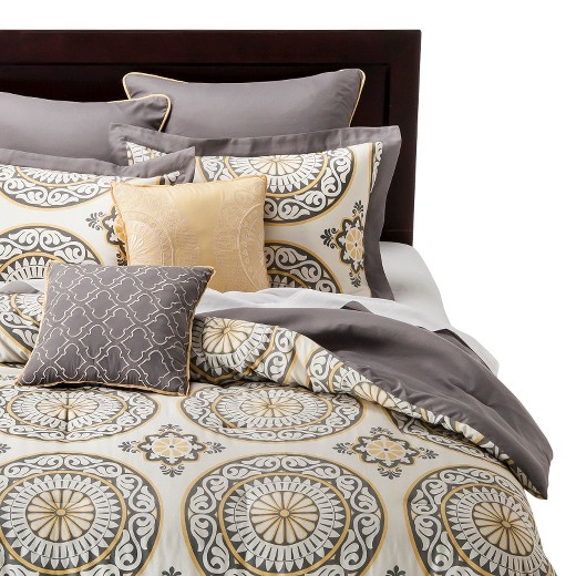 Gray Yellow Quilt Target : Gray yellow venice medallion print comforter set pc