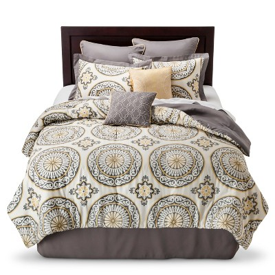 Venice Medallion Print Comforter Set (California King)8 Piece - Gray&Yellow