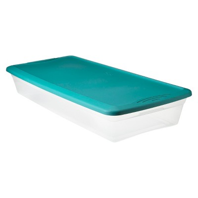 Plastic Under Bed Storage Bin Clear With Blue ...
