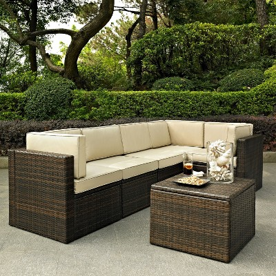 Palm Harbor 6 Piece Wicker Patio Sectional Seating Furniture Set