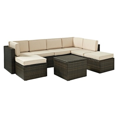 Palm Harbor 8 Piece Wicker Patio Sectional Seating Furniture Set