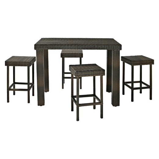 Palm Harbor 5 Piece Wicker Bar Height Dining Furniture Set