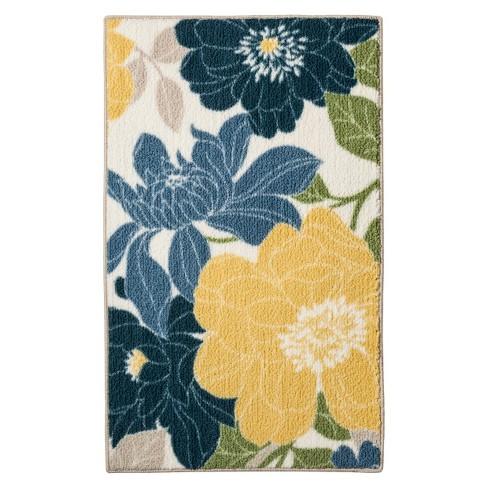 Spring Floral Kitchen Rug Blue - Threshold™ : Target