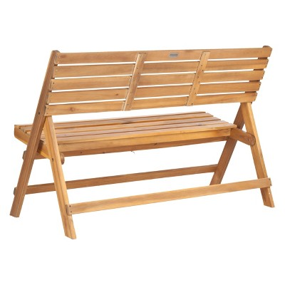 Samanna Wood 3 Seater Folding Patio Bench   Safavieh®