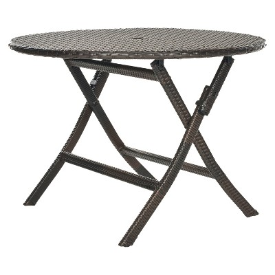 kalamos round wicker folding patio dining table brown safavieh