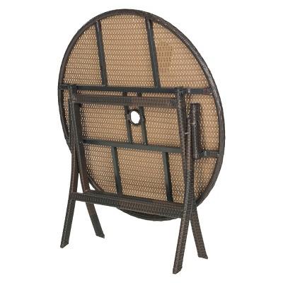 Kalamos Round Wicker Folding Patio Dining Table   Brown Safavieh®