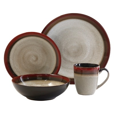 Gibson Couture Bands 16pc Dinnerware Set Red/Brown