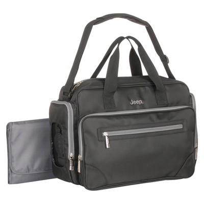 Jeep Poly Twill Duffle Diaper Bag - Black/Gray