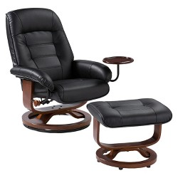 Bonded Leather Recliner & Ottoman - Aiden Lane