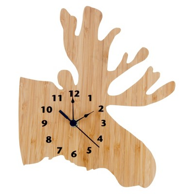 Northwoods Moose Wall Clock Bamboo Finish - Trend Lab®
