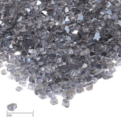 Fire Glass-20 lb. Reflective Chips - Gray - Real Flame