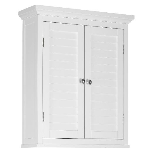 Slone 2 Door Shuttered Wall Cabinet 24x20x7 - Elegant Home Fashions