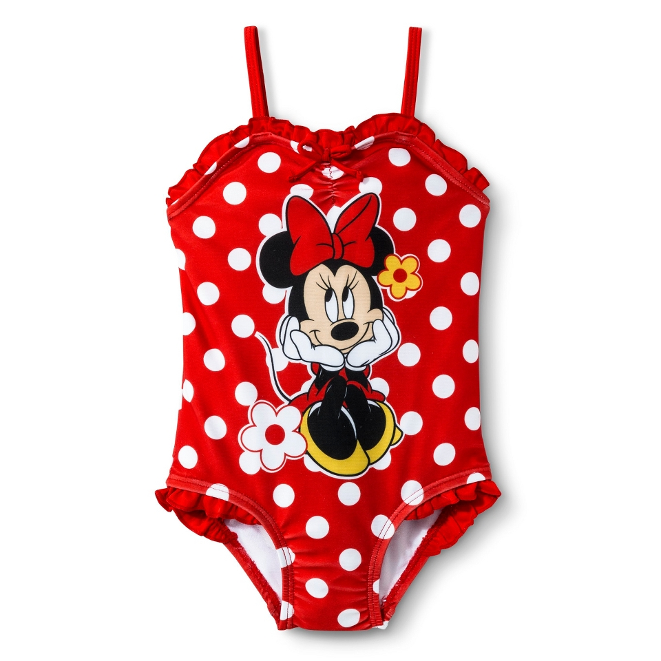Disney Minnie Mouse Infant Toddler Girls 1 Piece Polka Dot Swimsuit   Red 2T