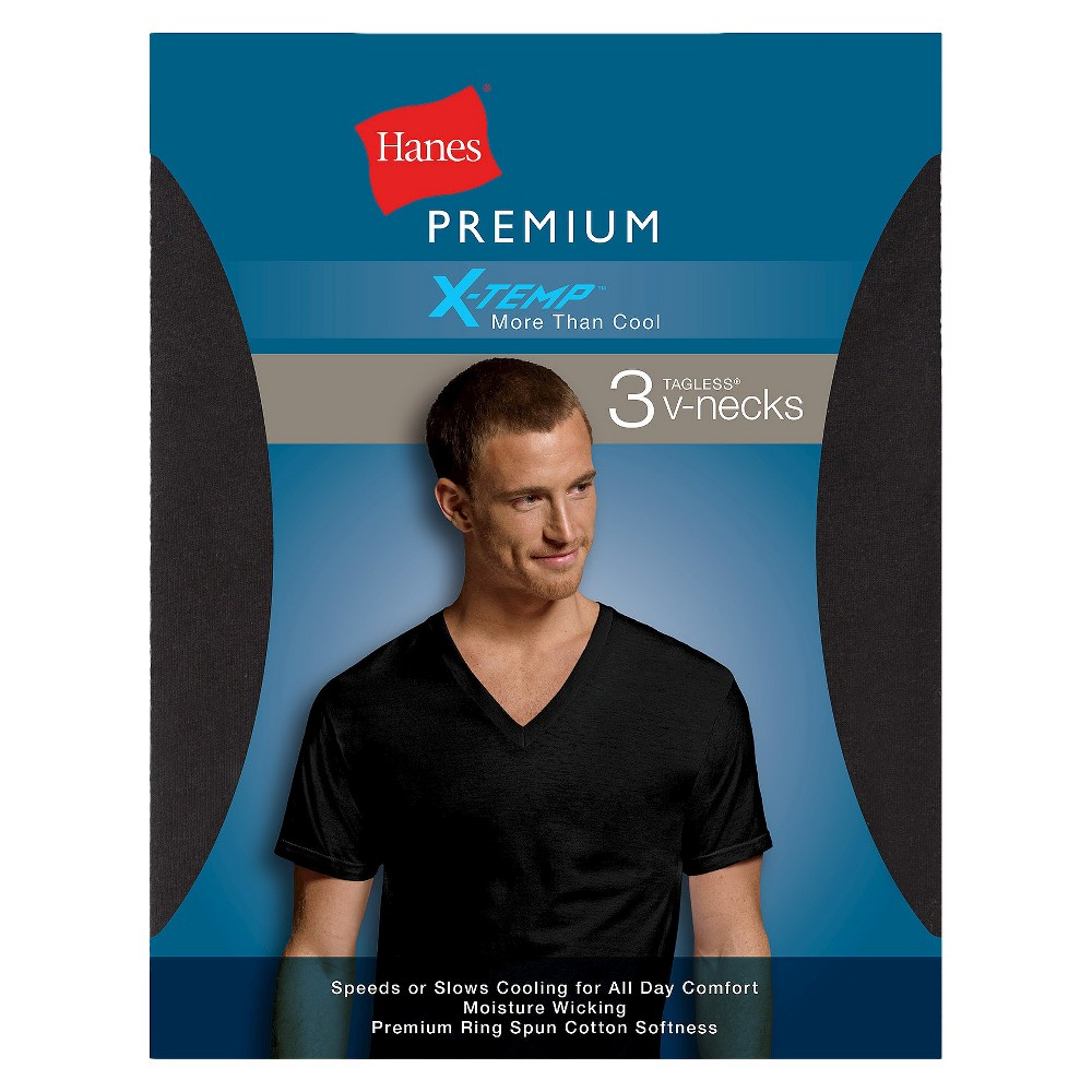 Hanes Mens X-Temp V-Neck T-Shirts - S, Variation Parent