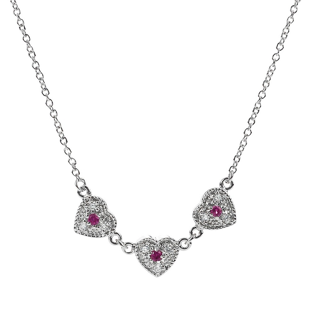 Tressa Collection Cubic Zirconia Pave Red Heart Necklace in Sterling Silver, Womens