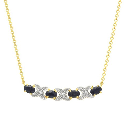 "Oval Cut Sapphire XO Prong Set Necklace in 18K Gold Plated (18"") - image 1 of 3"