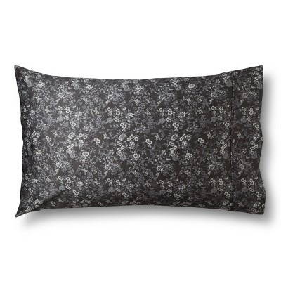 Performance Printed Pillowcase Gray Bird Floral (Standard)400 Thread Count - Threshold™