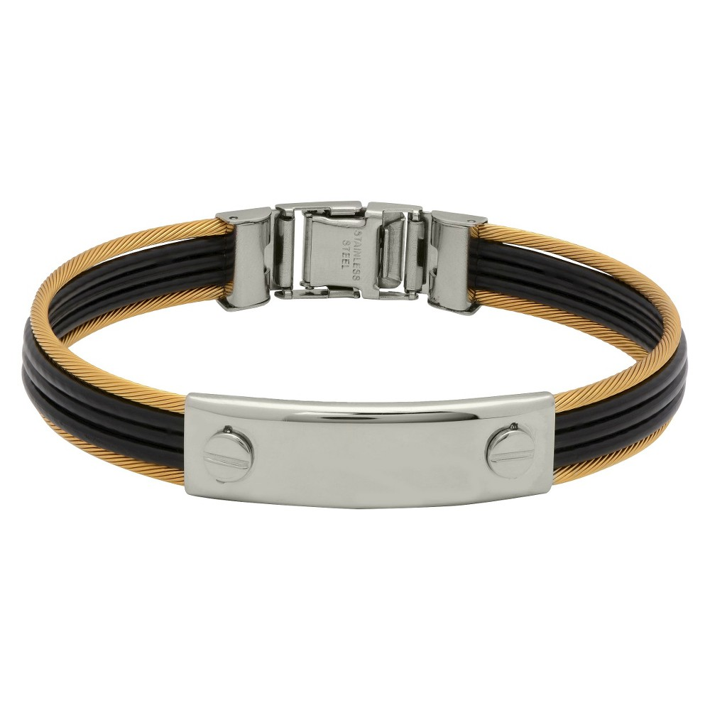 Mens Stainless Steel and Rubber Cable Bangle, Black/Gold/Silver