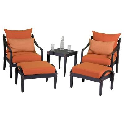Astoria 5-Piece Metal Patio Chat Furniture Set - Orange