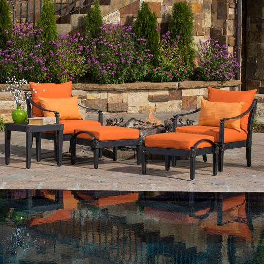 Astoria 5 Piece Metal Patio Chat Furniture Set Orange Target