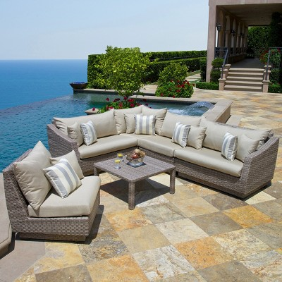 Cannes 6 Piece Wicker Patio Sectional Seating Furniture Set   Blue