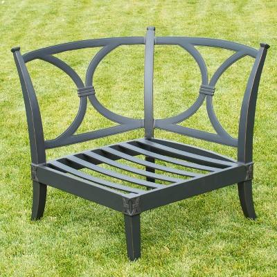 Astoria 4 Piece Metal Patio Sectional Seating Furniture Set   Beige