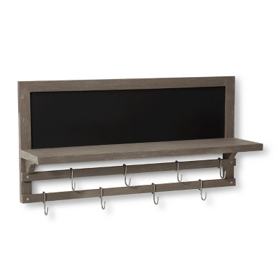 Wall Shelf with Chalkboard and Hook Rails - Gray - Threshold™