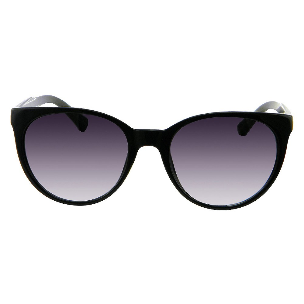 Round Cateye Sunglasses with Stripe Temple Detail - Black, Womens