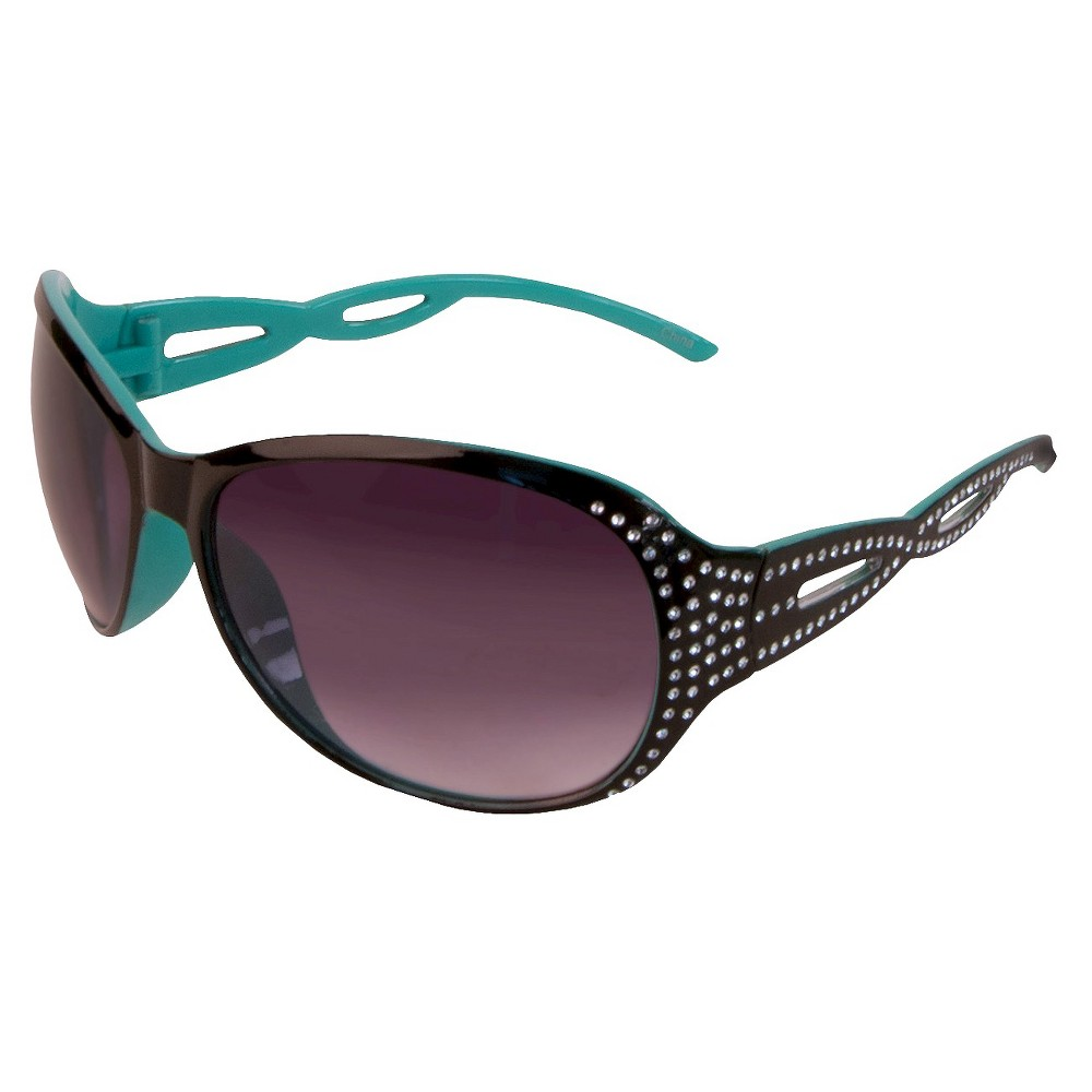 Womens Oval Sunglasses- Black with Faux Bling